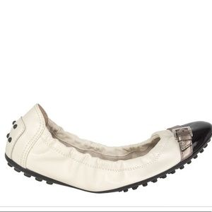Tods Dee Ballerina White with Black Toe 39